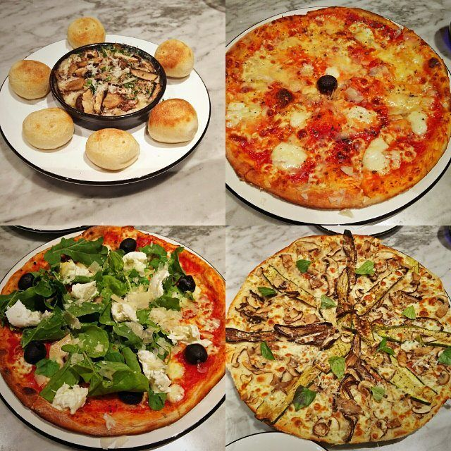 #PENewMenu launch seen here from left to right - Emilgrana & Mushroom Dip with Dough Balls Formaggi65 (must try for cheese lovers) Verdure Bianca (for the veggie lovers) and Soho 65 which is a perfect blend of rocket leaves Mozzarella and Emilgrana. Loved everything especially Verdure Bianca (even though it is the only pizza without the base sauce) and Formaggi65 @pizzaexpressin #pizza #doughballs #pizzaexpress #food #foodlover #foodlay #flatlay #foodflatlay #pizzalover #pizzalife…