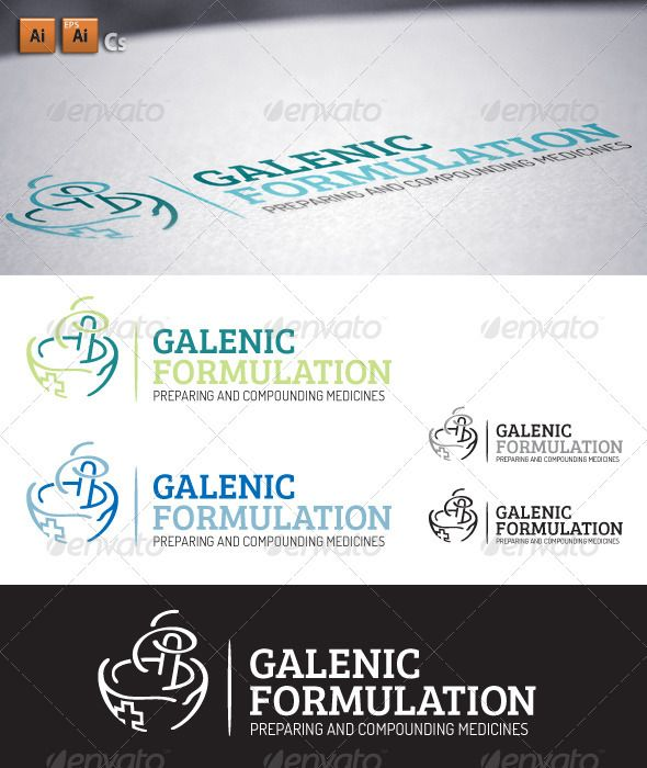 """Galenic Formulation  #GraphicRiver         Logo made from basic form of a mortar and pestle, """"Apothecary Grinder"""", stylized in a symbolic way that represents abstract sign for all kinds of industry that deals with galenic formulations, pharmacology, chemistry, cosmetology etc..   Re-sizable Vector logo.  Easy to edit, clean vector drawings.  Black and White/grayscale version.  Color variations.  EPS files, both with outlined and non-outlined text, AI fully editable file.  Dosis And Bree…"""