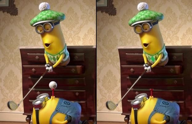 Find differences in five pictures of Gru, Margo, Edith, Agnes, the Minions and other characters in their second movie, Despicable Me 2. The picture on the left is the original and the picture on the right will have five differences. Find all five differences in five levels to win the game.