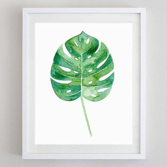 Cette feuille de Philodendron est une reproduction dune aquarelle peinte à la main. Le vert vif couleurs pop sur un papier aquarelle blanc texturé et est disponible dans une variété de tailles (sélectionnez dans le menu déroulant sur la droite). Cest une partie de la série de feuilles tropicales (sur la photo dans le listing des photos et sont disponibles ici : https://www.etsy.com/listing/276919584/set-of-4-tropical-botanical-leaf?ref=shop_home_listings).  Ces estampes botaniques uniques…