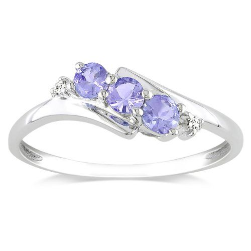 10k White Gold Tanzanite and Diamond 3 Stone Ring (0.018 cttw, GHI Color, I2-I3 Clarity) - Listing price: $367.99 Now: $139.00 + Free Shipping