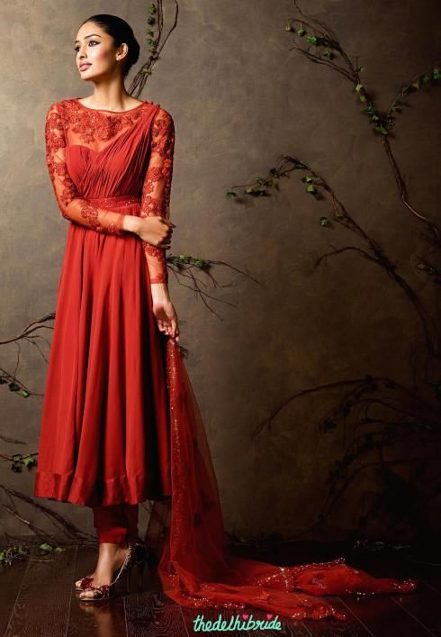 Top Picks Cardinal red anarkali with embroidered sheer sleeves - Shyamal and Bhumika New Collection 2015 - A Little Romance - Autummn-Winter Collection 2015