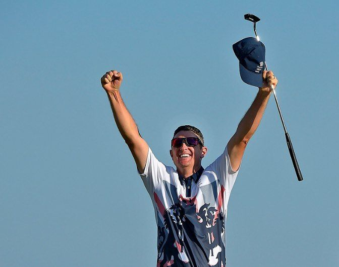 Justin Rose of Great Britain celebrates winning the first Olympic Gold Medal in 112 years at the Rio 2016 Olympic Games at the Olympic Golf Course on August 14 2016 in Rio de Janeiro Brazil. (Photo by Stan Badz/PGA TOUR/IGF) http://ift.tt/2bhGiig