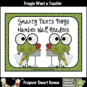 Math Teacher Resource--Smarty Pants Frogs Number Wall Headers