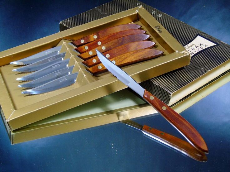 Vintage Robinson Stainless Steak Knives Wood Handles Boxed Set of 6 Made in USA  #RobinsonKnifeCompany