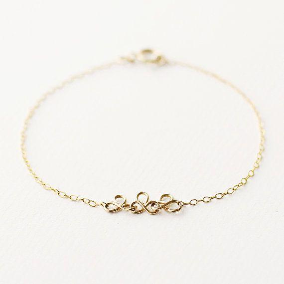 Grace  delicate 14k gold chain bracelet  by MinettaJewellery