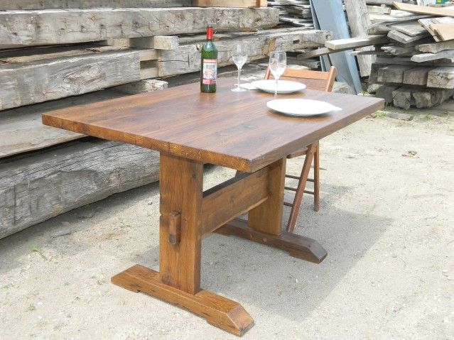 Little trestle table made from reclaimed white oak wood a for Reclaimed wood new york