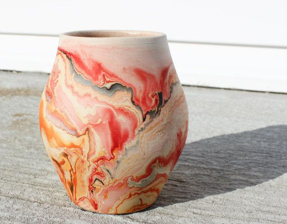 Vase en céramique Nemadji Vintage Vase en argile brun Orange