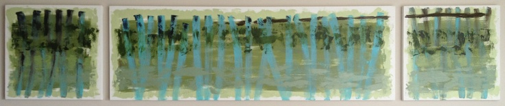 'Green barriers' - by Alma Horn.   Triptych 2800 x 600 x 50 mm. Oil on stretched canvas. almahorn@blogspot.com