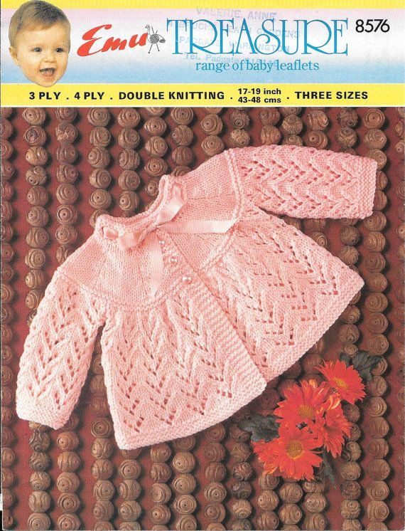 Emu Treasure 8576 Sizes 17, 18 and 19 (6, 9 and 12 months) Using UK knitting needles, No. 8 (4.00 mm) No. 10 (3.25 mm), No. 11 (3.00 mm), No. 12
