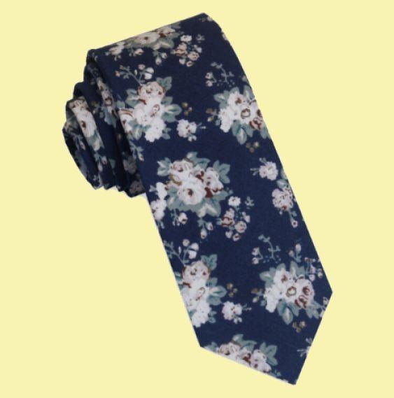 Dusky Pink Floral Navy Groomsmen Groom Wedding Slim Skinny Mens Neck Tie