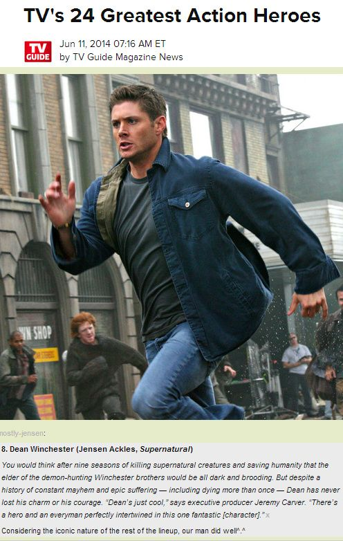 Oh Lookie!! Dean Winchester made it on to TV Guide's list of TV's 24 Greatest Action Heroes!  http://www.tvguide.com/PhotoGallery/TVs-24-Greatest-1082822/1082839