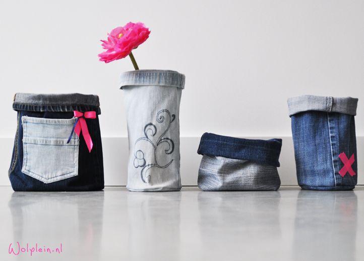 Jeanszakjes, van je oude spijkerbroek. Doe het zelf, bekijk de video - wolplein
