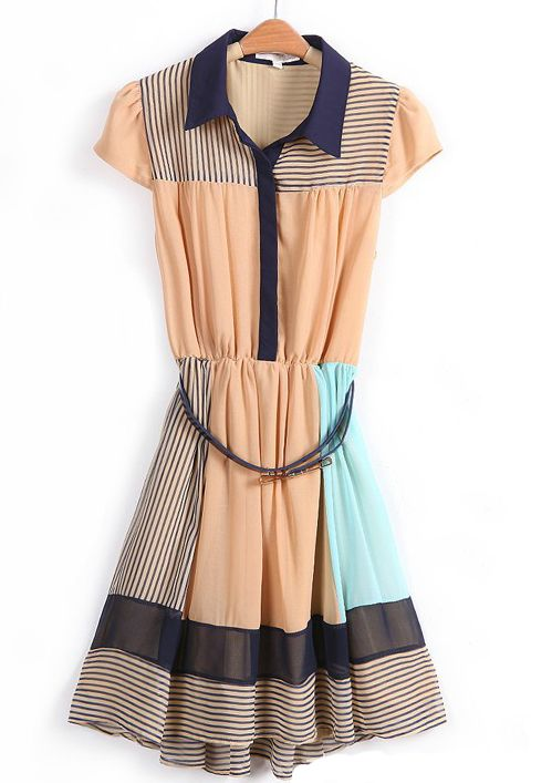 Khaki Contrast Collar Striped Asymmetrical Dress