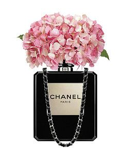 a8452085cde4 Hydrangea Painting - Chanel Perfume Bag With Pink Hydrangea 2 by Del Art