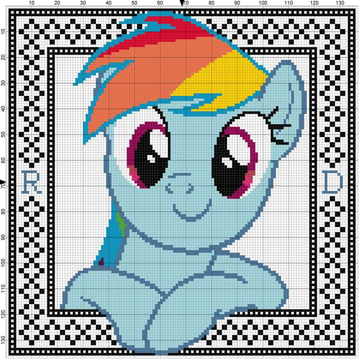 Rainbow Dash Cross Stitch Pattern with Border by Lahirien on deviantART