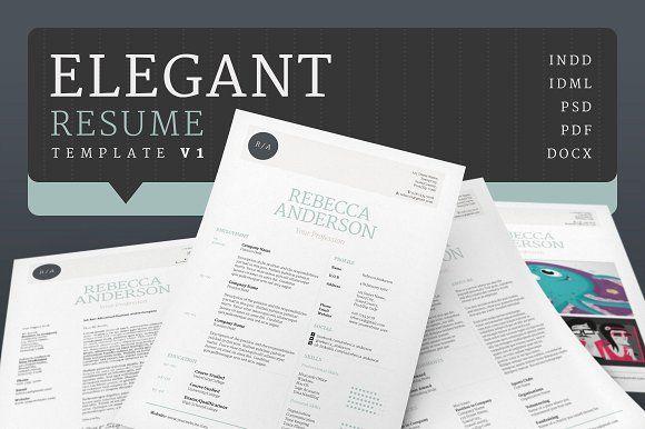 Elegant Resume/CV V1 by bilmaw creative on @creativemarket