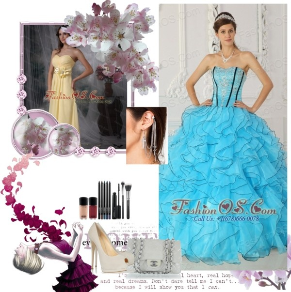 """""""Beautiful Baby Blue Prom Dress Strapless Organza Appliques Ball Gown"""" by quinceaneradress ❤ liked on Polyvore"""