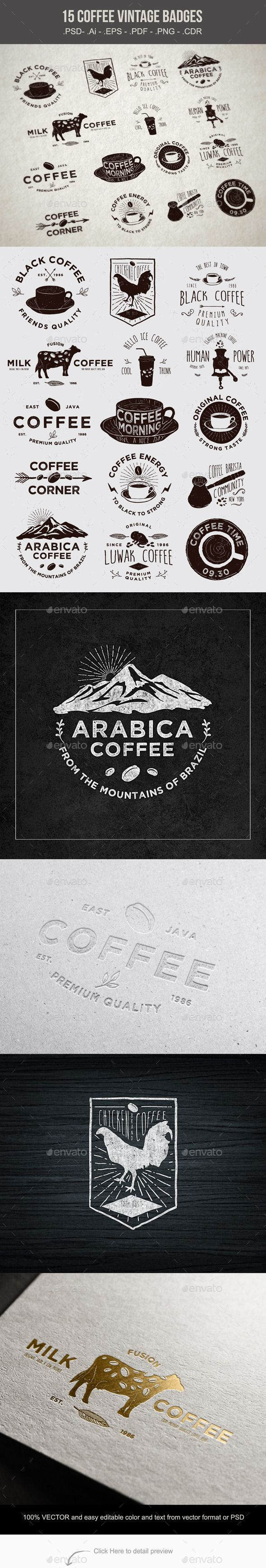 15 Coffee Vintage Badges Vector Template #design Download: http://graphicriver.net/item/15-coffee-vintage-badges/10611993?ref=ksioks