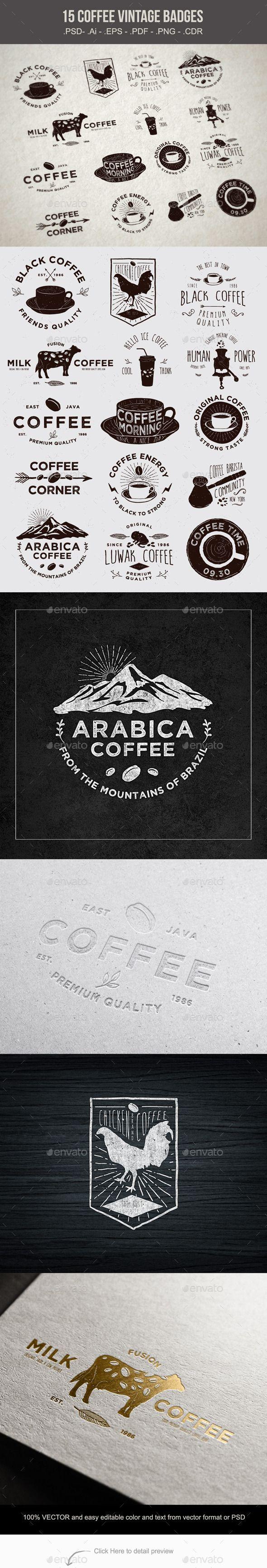 15 Coffee Vintage Badges Vector Template #design Download…