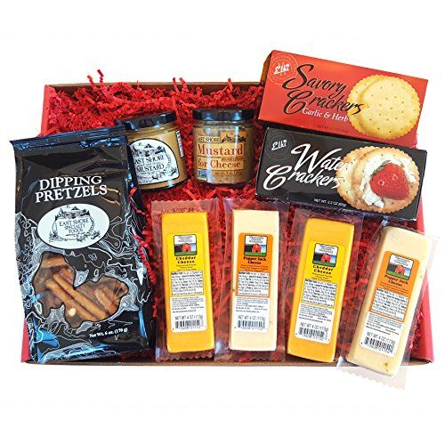 In the tradition of WISCONSIN'S BEST and WISCONSIN CHEESE COMPANY, the Deluxe CHEESE & CRACKER Gift Box 100% Wisconsin Cheeses, Water Crackers, Dipping Pretzels, Mustard for Cheese and a Sweet & Tangy Mustard.