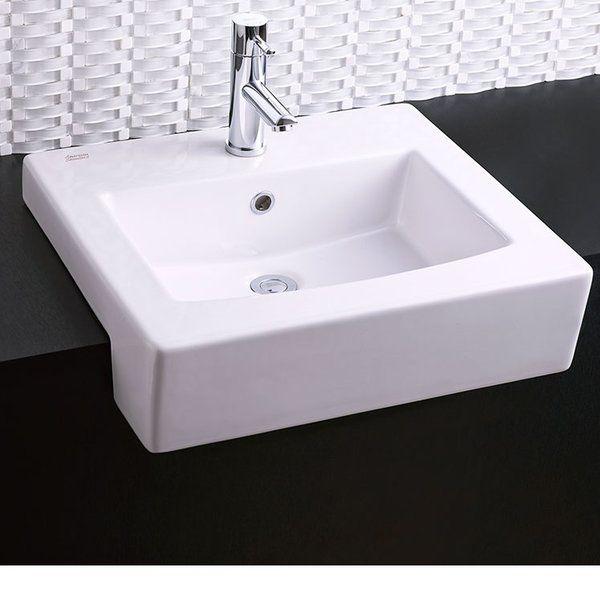 Universal Ceramic Rectangular Drop In Bathroom Sink With Overflow