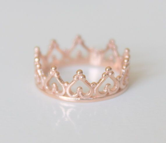 14K Gold Crown Ring  Gold Tiara Ring  Modern by ChillsJewellery
