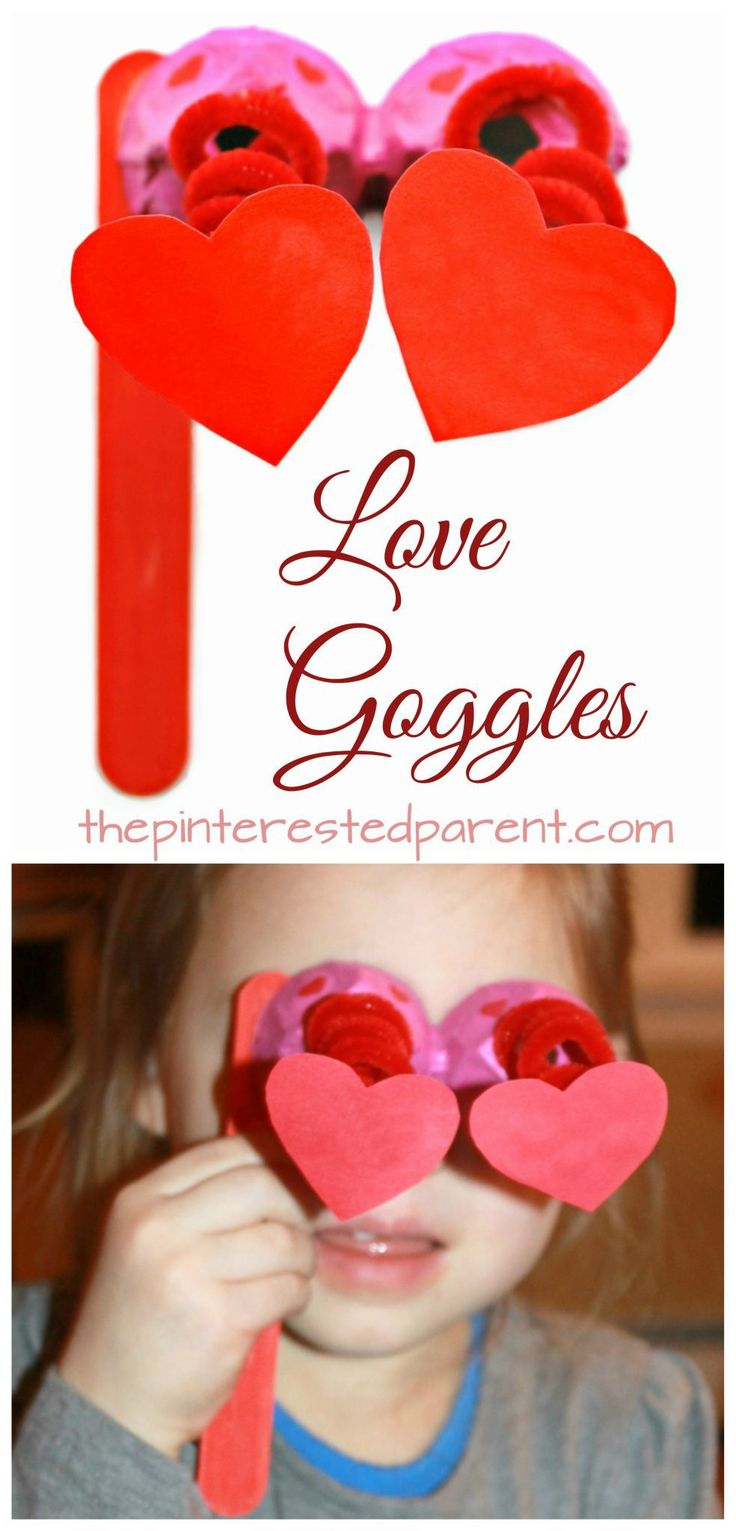 Springy love goggles made out of egg carton & pipe cleaner - Valentine's Day arts & crafts for kids. Recyclable dangling heart glasses