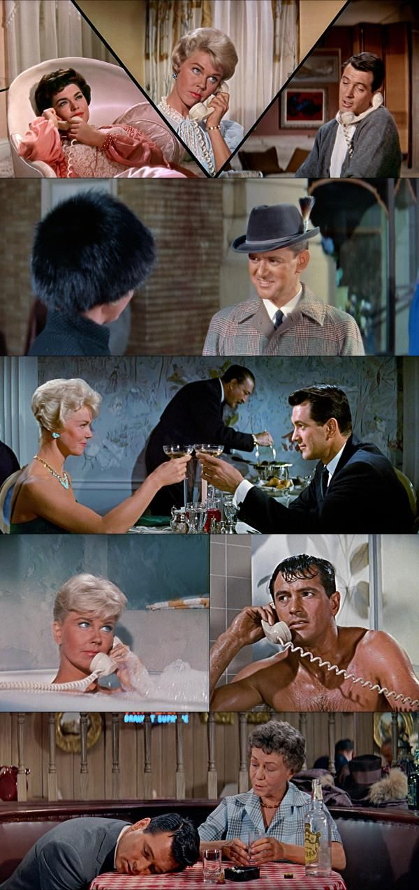 Pillow Talk (1959), Doris Day, Rock Hudson, Tony Randall, directed by Michael Gordon.  A studly bachelor develops a cunning plan to seduce his best friend's girl by pretending to be two people: his nasty self and a nice Texan. Good thing this is a comedy or that would be very bad. Everyone has opulent apartments, clothes and offices. It's kind of a return to the screwball comedies of the 1930s; people wanted to see rich and fashionable settings then, too.
