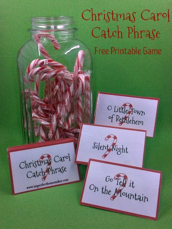 Great idea for a family Christmas party game! Christmas Carol Catch Phrase - Free Printable