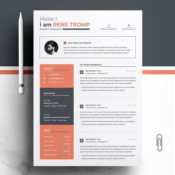 1 Page Professional Resume Template Resume Template Professional Resume Template Word Resume Design