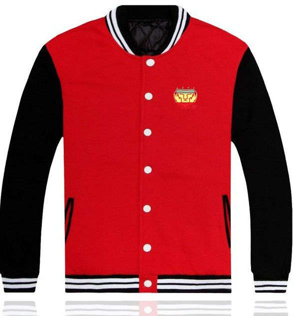 Mens Red Cotton Baseball Jacket With NEFF Lion Pattern