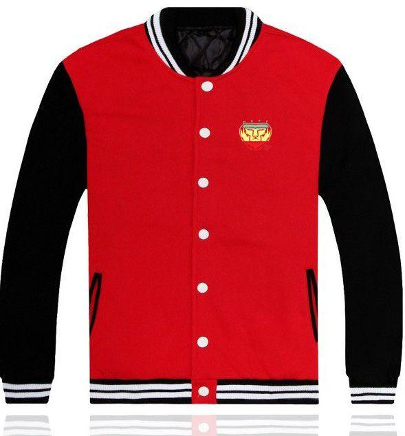 Mens Red Cotton Baseball Jacket With NEFF Lion Pattern
