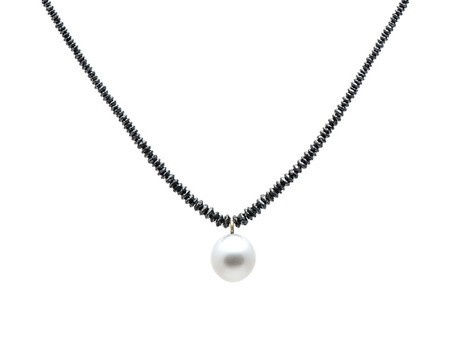 'Pearl Necklace' by Emma Goodsir Black diamon beads, South Sea pearl, 18ct yellow gold Available online an in store http://egetal.com.au/store/product/EGG864