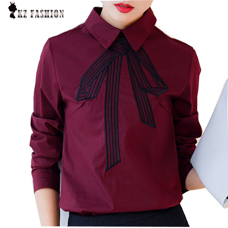 New Style Autumn Womens Blouse Ladies Shirt Tops Cotton Fake Tie Bow Graphic Print Wine Red Student Womens Clothing T67701R