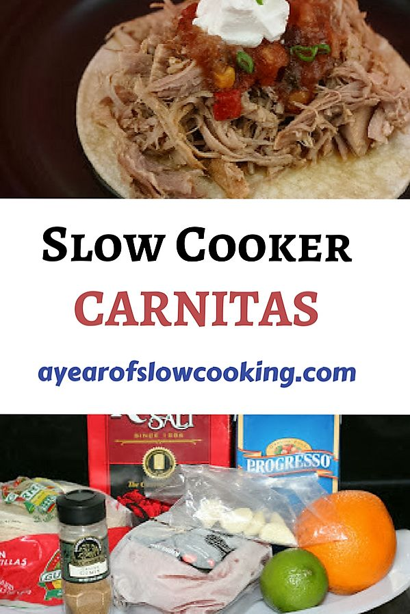 Shredded Pork, citrus, and lots of cumin make these delicious and easy crockpot slow cooker carnitas. Shred the meat and serve in corn tortillas or over rice -- superb and family friendly!