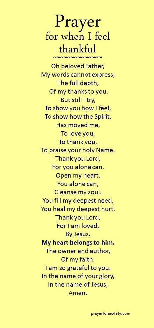 A prayer of thanksgiving to God.