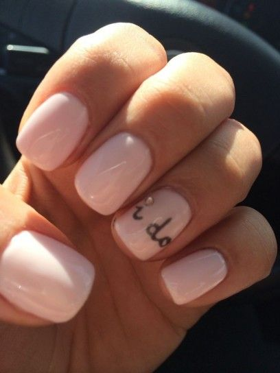 Smalto rosa pastello con scritta i do