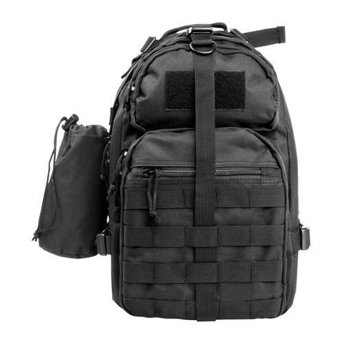Small Backpack-Mono Strap - Black. Small Backpack/Mono Strap - BlackManufacture ID: CBMSB2959NcStar Sling Backpack, BlackFeatures:- The Sling Backpack has a Main zippered compartment of 720 cubic inches of space, with internal zippered and mesh pockets- The Middle zippered compartment of 350 cubic inches of space with three internal pockets- The Front Top Compartment (49 cubic inches) has a loop fastener patch on the outside for hook & loop name tapes and/or moral patches-...
