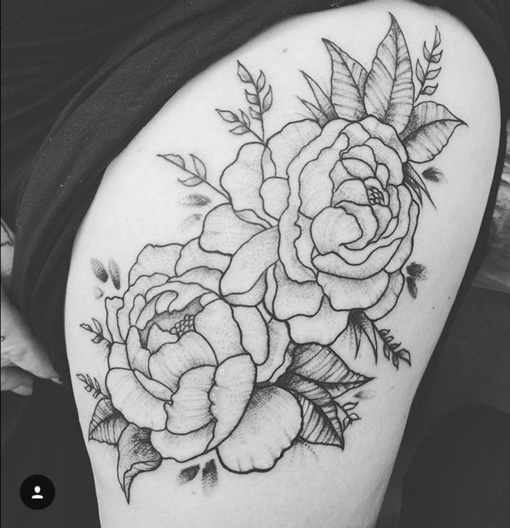 Kerry Burke Tattoos: Peonies Thigh Piece Tattoo By Casey Hart At Rose Red