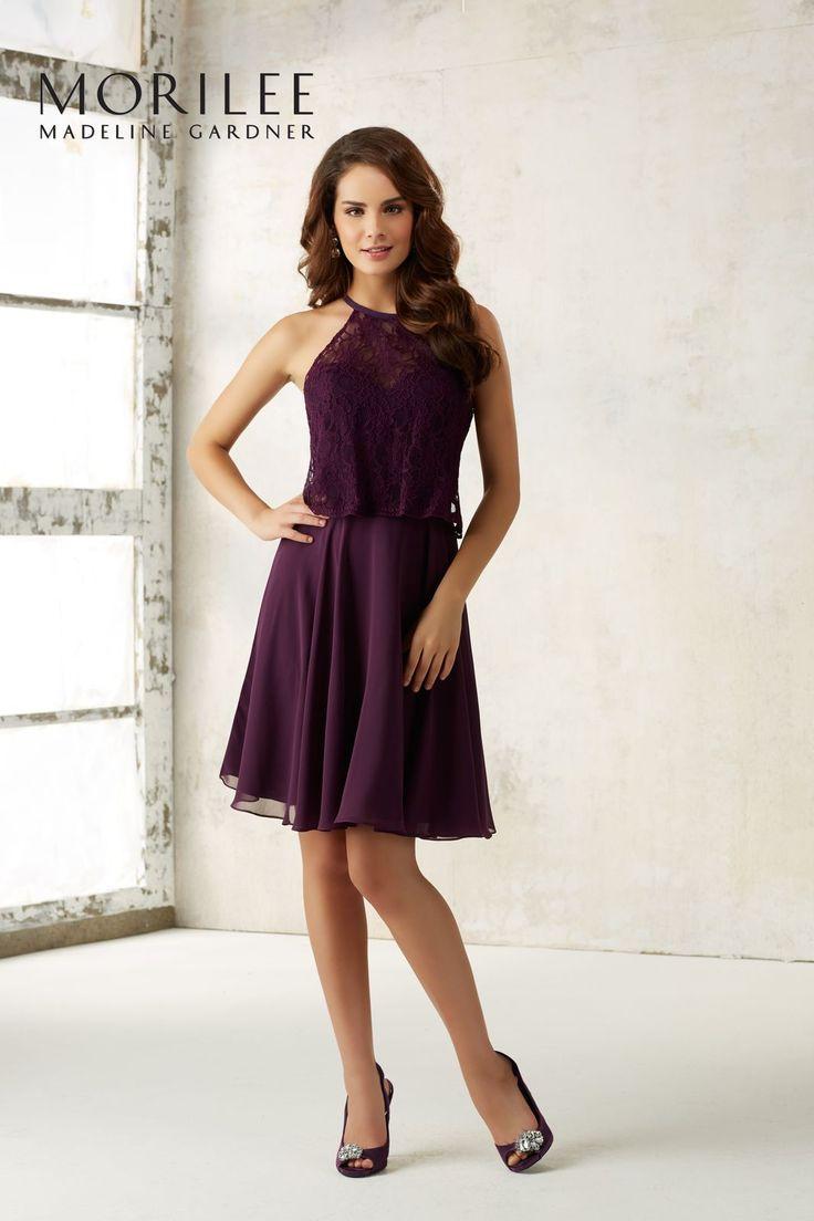 Koktajlowa suknia Mori Lee, połączenie koronki i szyfonu. Dziewczęca suknia z rozkloszowaną spódnicą z szyfonu. Gorset w kształcie serca z …