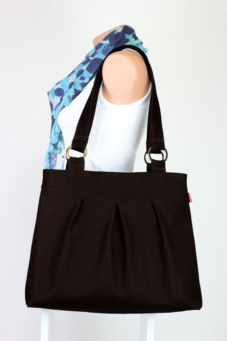 $  Dark Brown Canvas Purse Daily Use Bag Useful Women Fashion Pleated Travel Bag Organic Cotton Eco-friendly teacher Bag MORE COLORS AVAILABLE by hippirhino         #tote  #bags  #minimalist  #vintage  #shop  #fashion  #Purse  #vintage #girl