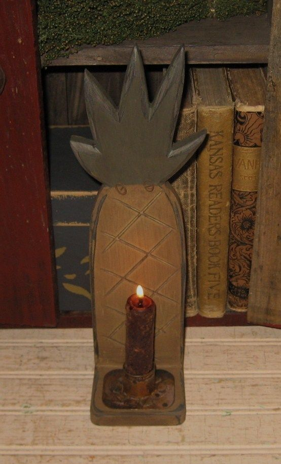 Primitive Wood Pineapple Candle Holder Sconce Wall Hanging