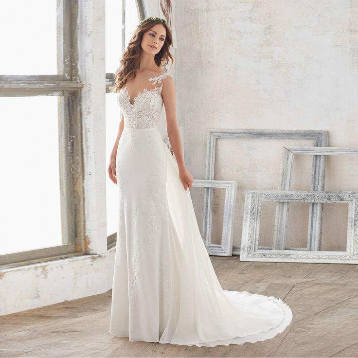 Cheap Beach Vestido de noiva Sheer Lace Mermaid Wedding Dress 2017 Sexy Backless Removable Train Chiffon Vestidos de novia ZP2