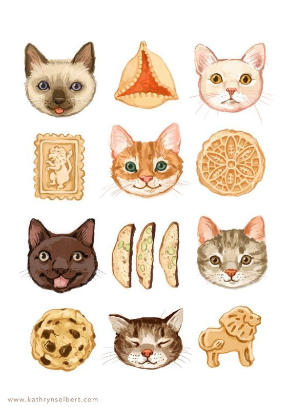 Fine Art Print Cats and Cookies Illustration by kathrynselbert, $22.00:
