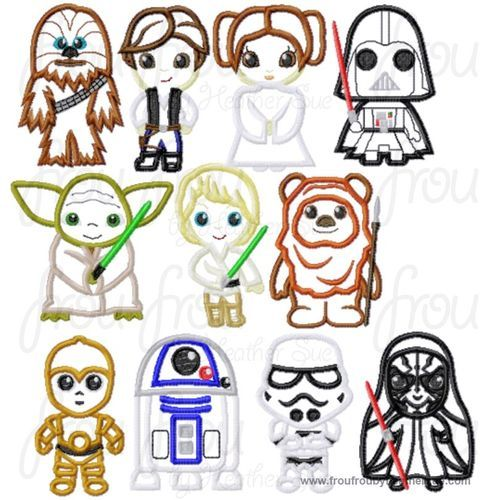 Space Wars ELEVEN Cuties Little Prince and Princess Machine Applique Embroidery Designs SET, Multiple Sizes, INCLUDING 4 INCH