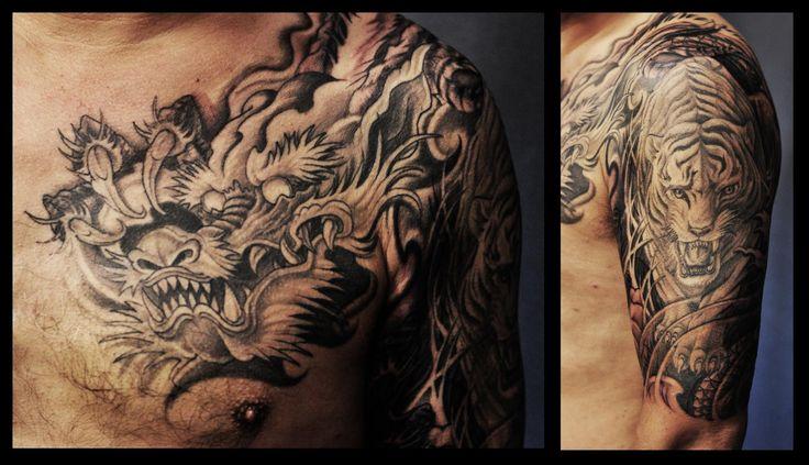 Best 25 dragon tiger tattoo ideas on pinterest japanese for Fake tattoo sleeves toronto