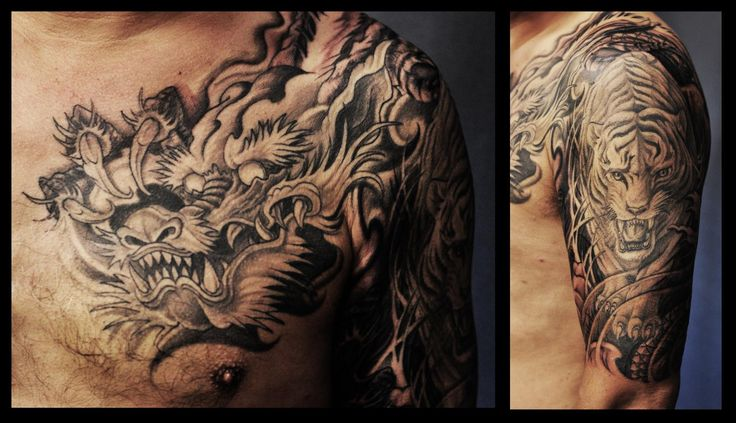 Chronic Ink Tattoos, Toronto tattoo - Dragon and tiger ...