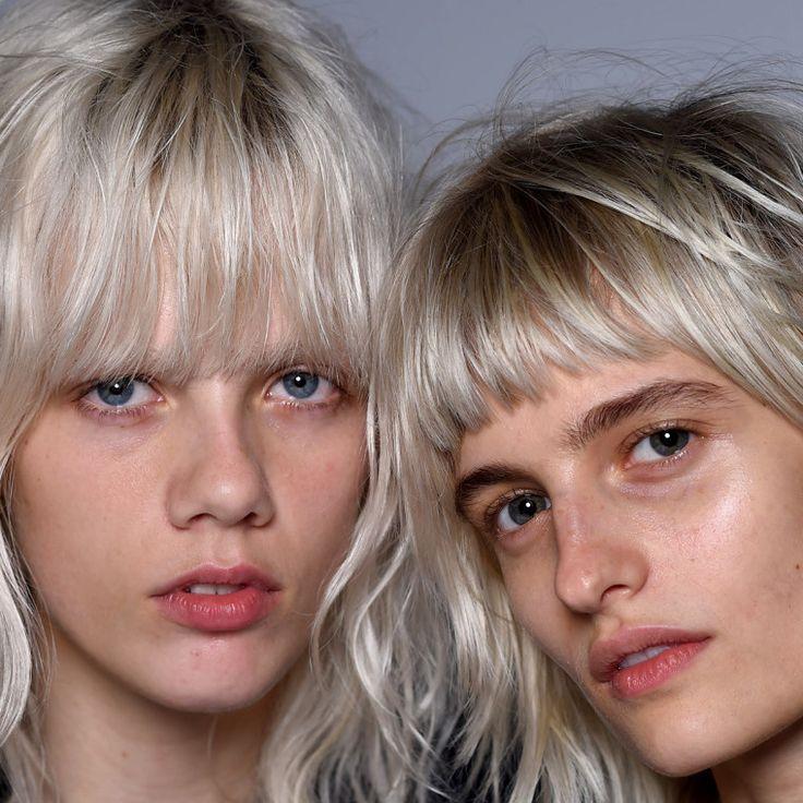 Bleach blonde bangs and natural makeup #beauty #hair: