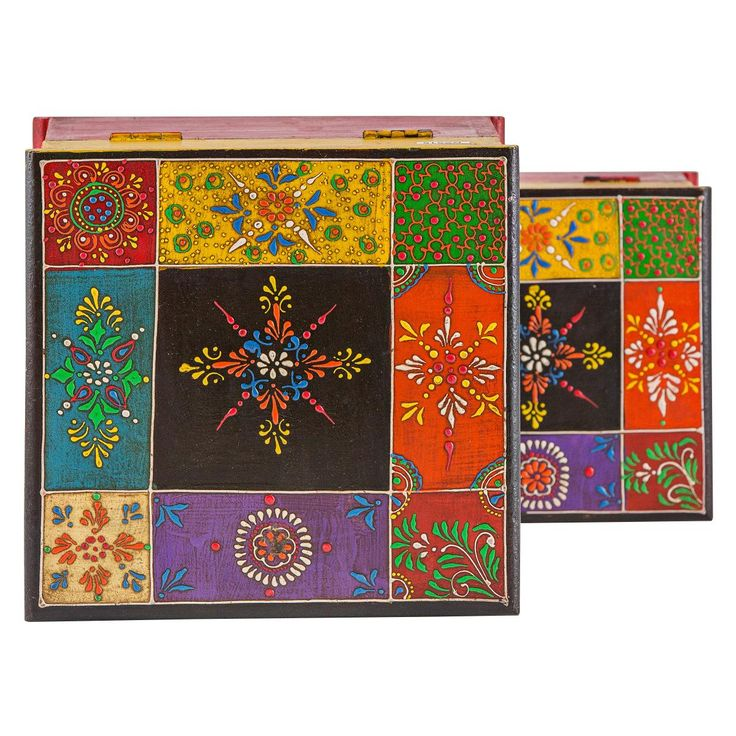 Indian Painted Wooden Boxes -  Set Of 2